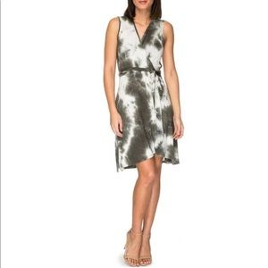 Bobeau Rowan Green Tie Dye Wrap Dress